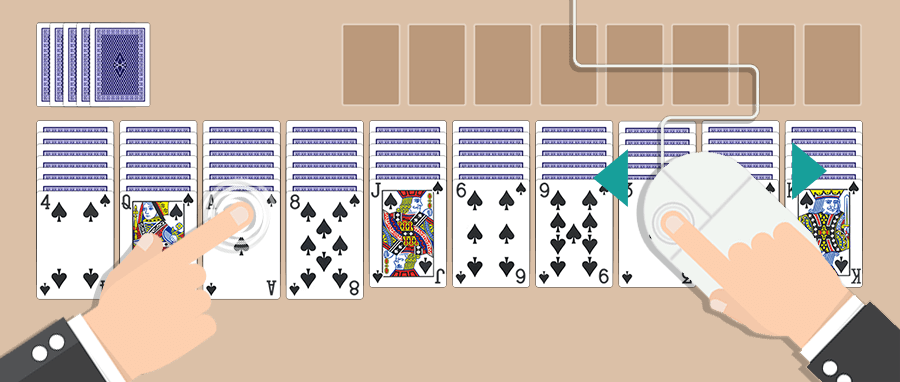 Play our Spider Solitaire game by tapping or clicking on the cards or move them with your mouse