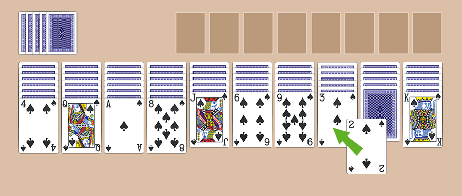 How to play and move cards in the Spider Solitaire game